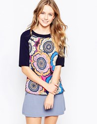 Closet Retro Print Blouse With Contrast Sleeves Multi
