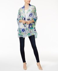 Steve Madden Illustrated Floral Wrap And Scarf In One Denim