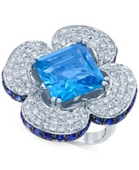 Lali Jewels Blue Topaz Blue Sapphire 9 3 4 Ct. T.W. And Diamond 1 1 5 Ct. T.W. Clover Ring In 14K White Gold