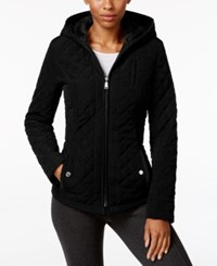 Laundry By Design Petite Faux Fur Lined Hooded Quilted Jacket Black