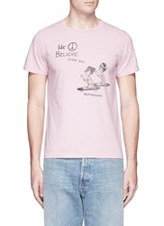 Remi Relief 'Praying Skateboarder' Print Cotton T Shirt Pink