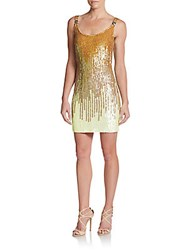 Versace Ombre Sequin Tank Dress Yellow