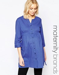 Mama Licious Mamalicious Button Up Woven Tunic Blue