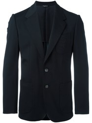 Dolce And Gabbana Embroidered Bee Crown Blazer Blue