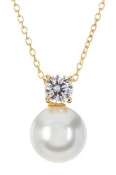 Savvy Cie 14K Yellow Gold Vermeil 10Mm Swarovski Pearl And Crystal Pendant Necklace White
