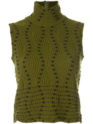 Christian Dior Vintage Standing Collar Knitted Blouse Green