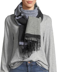 Eileen Fisher Mod Jacquard Fringed End Scarf Black White