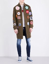 Dsquared Badge Detail Cotton Twill Coat Military Green