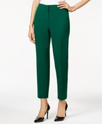 Kasper Petite Crepe Slim Leg Pants Dark Green