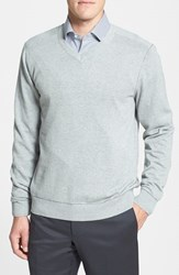 Men's Cutter And Buck 'Broadview' Cotton V Neck Sweater Athletic Grey Heather