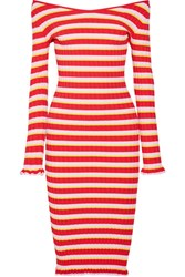 Altuzarra Socorro Off The Shoulder Striped Stretch Knit Dress Red