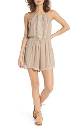 Lush Women's Embroiderd High Neck Romper Cocoa