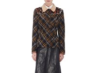 Maison Martin Margiela Women's Embellished Plaid Flannel Jacket Navy