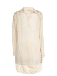 Mes Demoiselles Debora Polka Dot Fil Coupe Cotton Blend Top Cream Multi