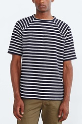 Cpo Reverse Terry Striped Raglan Tee Navy