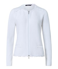 Olsen Frayed Knitted Jacket White