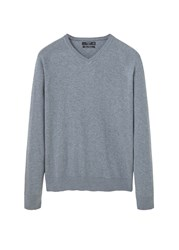 Mango Men's Cotton Cashmere Blend Sweater Light Grey Marl