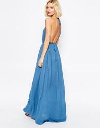 Paisie Volume Maxi Dress With Halterneck And Low Back Pale Blue