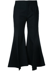 Irene Wide Leg Flared Trousers Women Rayon Wool 34 Black