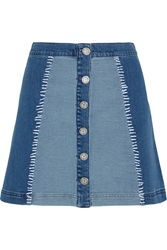 House Of Holland Patchwork Stretch Denim Mini Skirt