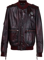 Philipp Plein Distressed Leather Bomber Red