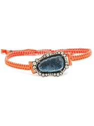 Kimberly Mcdonald 18Kt White Gold Dark Geode And Macrame Bracelet Yellow And Orange