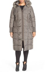 Plus Size Women's Tahari 'Elizabeth' Faux Fur Trim Hooded Long Down Coat