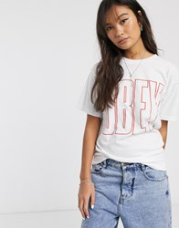 Obey Boyfriend T Shirt With Oversized Front Logo White