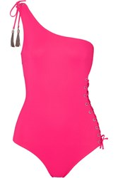 Emma Pake Bianca One Shoulder Tasseled Lace Up Swimsuit Bright Pink