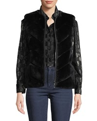 Belle Fare Reversible Rabbit Fur Chevron Vest Black