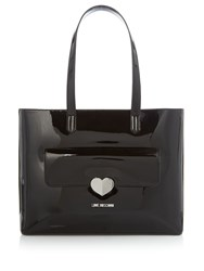 Love Moschino Patent Black Large Tote Black