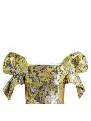 Delpozo Floral Print Off The Shoulder Cropped Top Yellow Multi