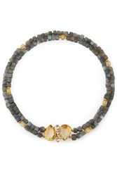 Bounkit Gold Tone Quartz And Labradorite Necklace Gray