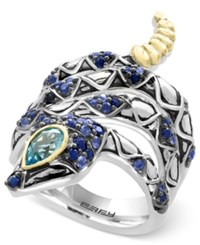 Effy Balissima Sapphire 7 8 Ct. T.W. And Blue Topaz 1 2 Ct. T.W. Snake Ring In Sterling Silver And 18K Gold Two Tone