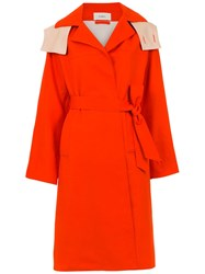 Egrey Belted Trench Coat Yellow And Orange