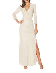 Laundry By Shelli Segal Metallic Long Gown Gold