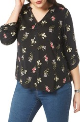Evans Plus Size Women's Floral Print Shirt Dark Multi