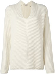 Moncler Loose Fit Ribbed Sweater Nude Neutrals