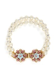 Miriam Haskell Crystal Floral Clasp Two Strand Glass Pearl Bracelet White Multi Colour