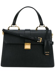 Miu Miu Flap Closure Tote Bag Black