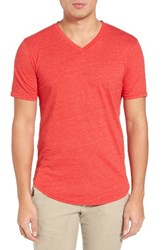 Goodlife Men's Scallop Hem V Neck T Shirt Red