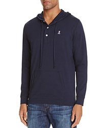 Psycho Bunny Button Placket Pullover Hoodie Sweatshirt Navy
