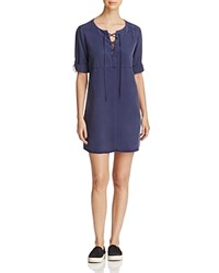 Side Stitch Lace Up A Line Shirt Dress Midnight
