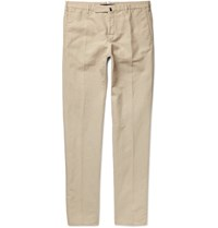 Incotex Chinolino Slim Fit Linen And Cotton Blend Twill Chinos Beige