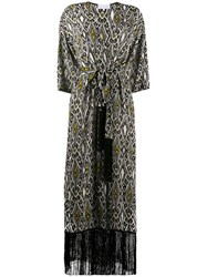 Patrizia Pepe Decorative Diamond Print Tasseled Wrap Coat 60