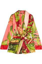 F.R.S For Restless Sleepers Armonia Printed Silk Twill Jacket Green