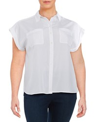 Lord And Taylor Plus Short Sleeved Sportshirt White
