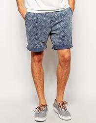 Asos Chino Shorts In Mid Length With Geo Print Blue