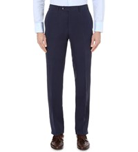 Canali Regular Fit Tapered Linen Blend Chinos Navy
