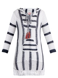 Anna Kosturova Cape Cod Striped Crochet Hooded Dress Blue White